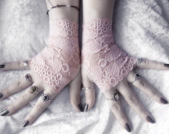 Petiole Lace Fingerless Gloves - Dusty Rose Mauve Leaf Foliage - Wedding Austen Bridal Mori Gothic Victorian Regency Tribal Belly Dance Noir