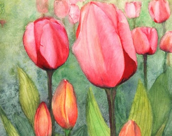 """Found in Spring, an original watercolor painting by Meike Geisler, 8.25"""" x 11.25""""; field of Spring time tulips; pinks, reds, greens, yellows"""