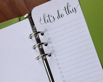"On Top of It, ""Let's Do This"" A5 Planner Bookmark, printed A5 to do list sheets, half width planner inserts"