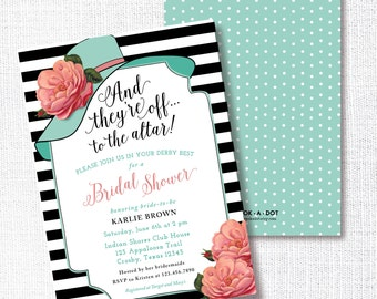 Wear A Hat Bridal Shower Invitation, Printable, Big Hat Invite, Brunch, Wedding, Luncheon, Tea Party, Kentucky Derby, Southern, Horse Race