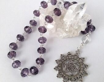 Violet Flower of Life Pocket Prayer Beads // Pagan // Wiccan