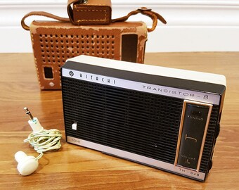 1963 Hitachi TH-848 Eight Transistor Radio, With Leather Case, Working