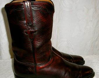 Vintage, 80s, Lucchese, Roper, boots, size 9C, red brown, made in USA