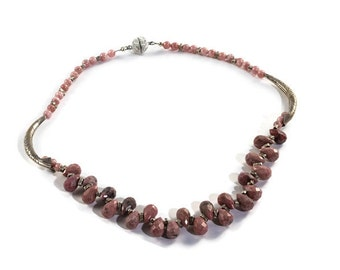 pink gemstone necklace, pink necklace for women, pink silver necklace, gemstone choker necklace, gemstone bead necklace, rhodochrosite