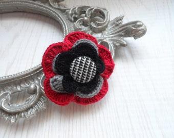 Rose Flower Brooch, Crochet Flower Pin, Vintage Crochet Flower, Crochet Flower Brooch, Pin Crochet Flower, Bohemian Style