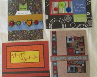 Geometric Homemade Happy Birthday Cards, set of 4