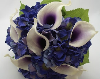 Calla Lily Bouquet, Real Touch Purple Picasso Callas, Silk Wedding Flowers, Bridal bouquet and Boutonniere