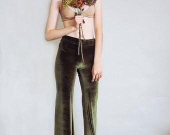 Hells Bells - Olive green velvet bell bottoms wide leg pants - emerald bohemian festival