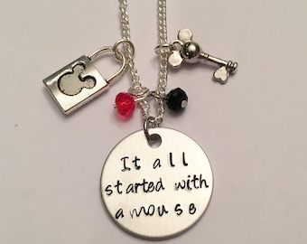 It All Started with a Mouse Mickey Mouse Minnie Mouse Walt Disney World Disneyland Disney Inspired Adjustable Charm Necklace