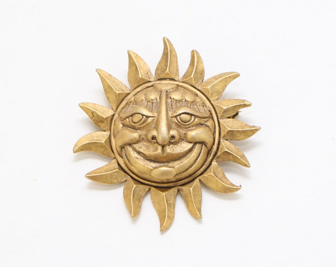 Gold Sun Brooch - Vintage 1970s Gold Tone Smiling Sun Pin