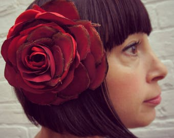 Custom order. Dark red burgundy recycled satin velvet hair flower
