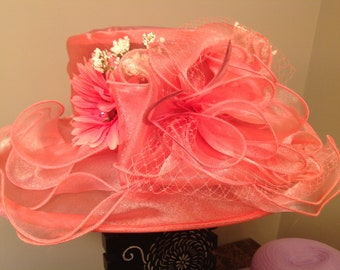Pink daisy Kentucky derby hat church sun floral big large wide brim