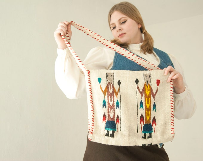 Vintage woven wool purse, white figures figural  tribal native shoulder market bag tote cotton 1970s