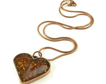 Orgone Energy Pendant - Copper Heart with Carnelian Gemstone - Heart Necklace - Carnelian Necklace - Artisan Jewelry