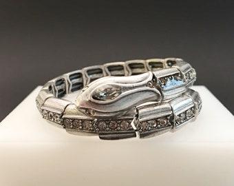 Coiled Snake Bracelet, Vintage Jewelry, Rhinestone Serpent Bracelet, Wrap Bracelet, Egyptian Revival Jewelry, Silver Cleopatra Bracelet