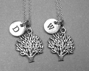 Best friend necklace, tree of life necklace, tree necklace, bFF necklace, friendship gift, best friend jewelry, best friend gift, monogram