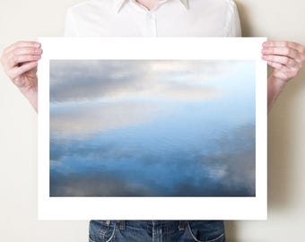 Water photography print. Abstract water and sky art, minimalist clouds print. Reflections photograph, large oversized minimal water artwork