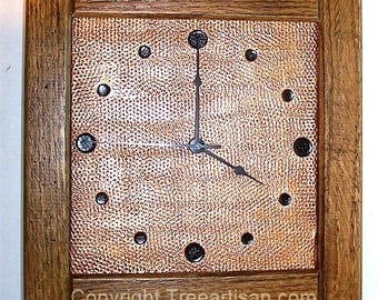 Wall Clock Arts Crafts Mission Stickley Inspired Quarter Sawn Oak Copper 26 Color Choice Made in USA
