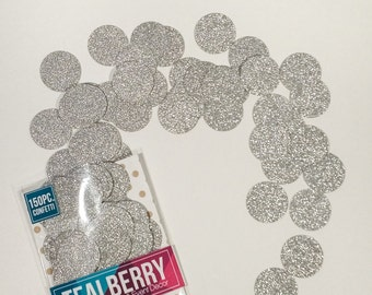 "CLEARANCE - 150 Piece -  Silver Glitter Confetti - Table Decor - Paper Confetti -  1"" Circles - Silver Glitter- Ready To Ship"