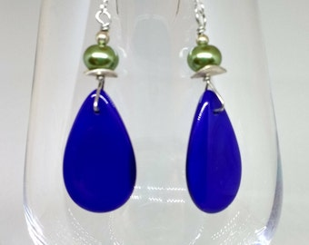 Blue Teardrop Stone Earrings with Green Pearl Accent