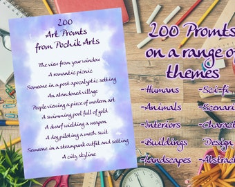 200 Art Prompts // PDF, Instant Download, Ideas, Drawing, Artist, Inspiration, Journaling, Creative, Exercise, Printable, Warm Up