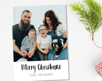 Christmas Card Photoshop Template, Christmas Card Template for Photographers, Holiday Photo Template Cards, Digital, Instant Download