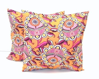 Decorative Pillow Covers. Set of Two 16x16. Orange and pink garden collection by Patricia Bravo