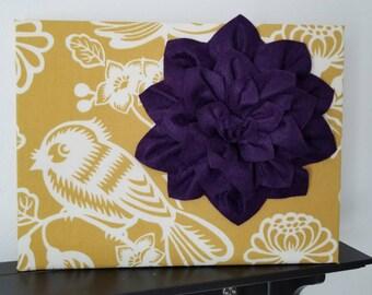 12x16 3D Deep Purple Felt Flower Wall Art, canvas, Mustard Yellow Bird Fabric