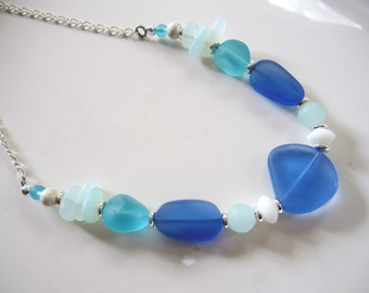 Blue Sea Glass Necklace, Teal, Frosted White, Antique Silver, Summer Necklace, Chunky Beads, Bridesmaid Necklace, Beach Wedding
