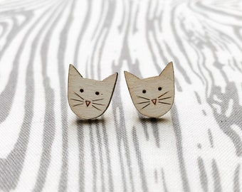 Hand Painted Laser Cut Wood Cat Post Earrings