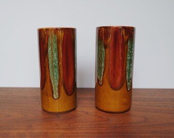 Dryden Arkansas Pottery Drip Tumblers/Glasses/Cups Set of Two