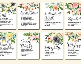 LDS Young Women Values, Set of Eight 8x10'' Printable Digital Files