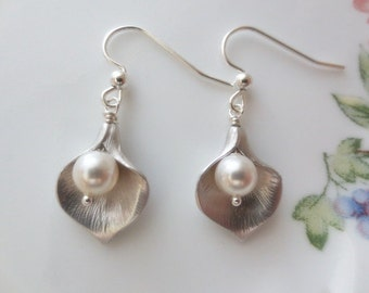 Calla Lily Flower 925 STERLING SILVER / Gold Filled Earrings--Bridesmaid Gift--Perfect Gift for mom for friends Birthday Present for her