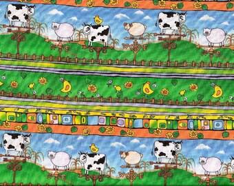 Tissu coton pour enfants, ā rayures très colorées, thème Campagne