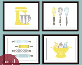 Cute Kitchen Utensils (Mixer, Whisk, Rolling Pin and Colander) Set of 4 - Art Prints (Assorted Colors) Personalize Colors