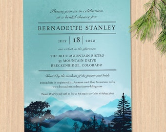 Blue Forest Mountain Range Bridal Wedding Shower Invitation; Printable, Evite or Printed (US Only) Invitation