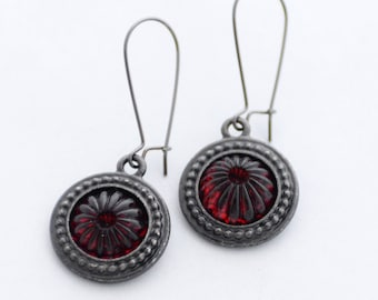 Red Glass Earrings, Round Earrings, January Birthstone Garnet Red, Floral Earrings, Vintage Glass, Birthday Gift, Red birthstone, SRAJD