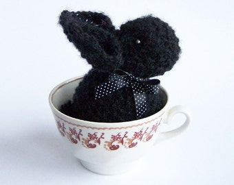 Black rabbit decor Stuffed bunny with ribbon Home decoration Spring rustic country indoor decor Waldorf animal - 1piece