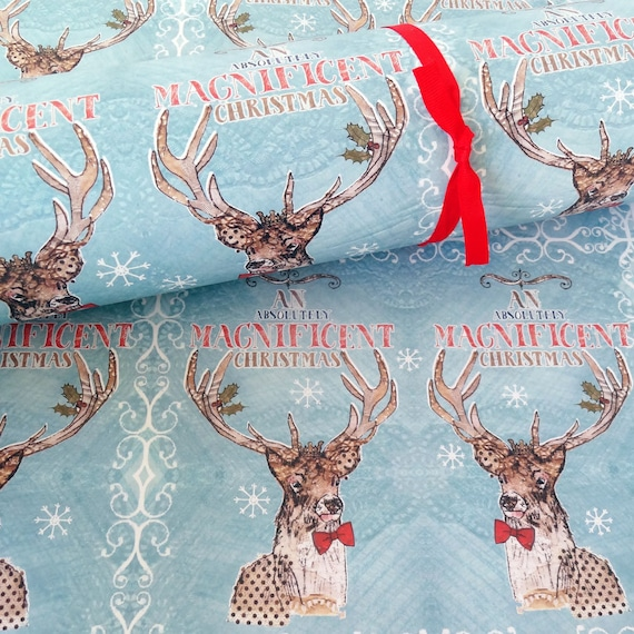 stag christmas wrapping paper three sheets recycled paper. Black Bedroom Furniture Sets. Home Design Ideas