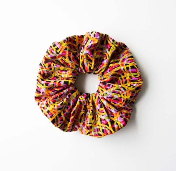 BLACK & BRIGHT. Large Scrunchy or Scrunchie. Scrunchy. Women Hair Accessories. Retro Accessory.