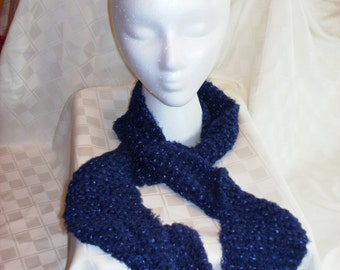 Ribbon Yarn Scarf, Navy Blue, Medium Length, Textured Scarf, Hand Knitted, Women or Teen Girls, Soft and Warm, Winter Accessory