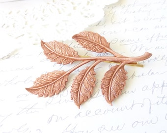 Rose Gold Leaf Branch Hair Pin - Large Rose Gold Leaf Spray Bobby Pin - Leaf Hair Pin - Bridal Leaf Hair Accessory - Wedding Hair Pin