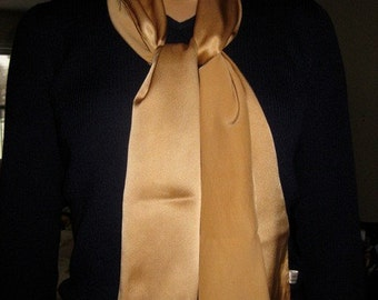 Luxurious Silk Charmeuse Scarf - Naturally Dyed, Subtle Gold