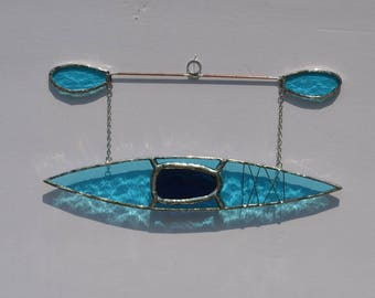 kayak #10 Stained glass suncatcher hanging from silver steel chain