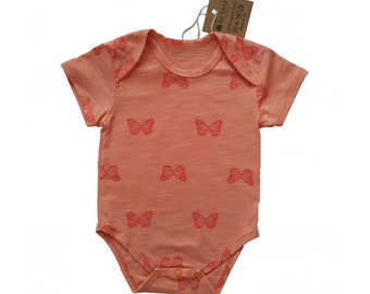 Orange Butterfly 100% Organic Cotton Bodysuit