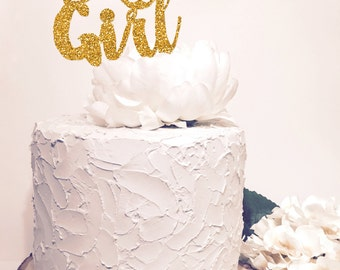 It's a Girl Cake Topper. Chic baby shower decor. Gold Glitter Sparkle. Cursive Script letter.