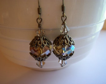 Antique Bronze and Crystal or Pearl Dangle Earrings