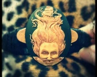 Hand Painted Black Cameo Ribbon Bracelet