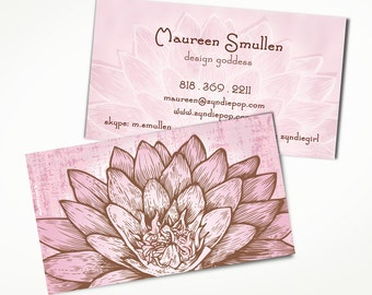 Lotus business card etsy 250 lotus yoga zen creative business cards pink lotus flower yoga bride colourmoves