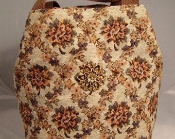 Floral Tapestry Tote Bag with Vintage Brooch and Webbing Handles